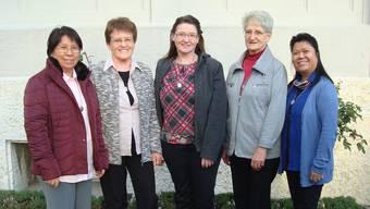 Die Generalleitung mit (v.l.) Estela Gabutan, Oberin Käthy Arnold, Monika Rütimann, Barbara Schuler und Mary Ann Siacor.