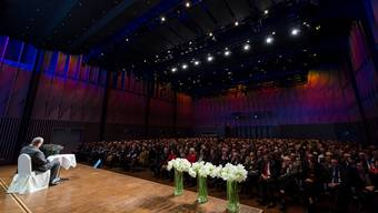 Vor gut 700 Zuhörern im Badener Trafo referierte der ehemalige tschechische Aussenminister Karel Schwarzenberg zur Situation von Europa und der EU.