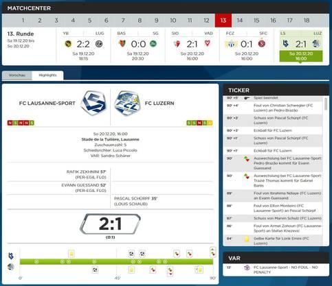 Die erfassten Daten sind direkt im Matchcenter der Swiss Football League auf sfl.ch abrufbar.