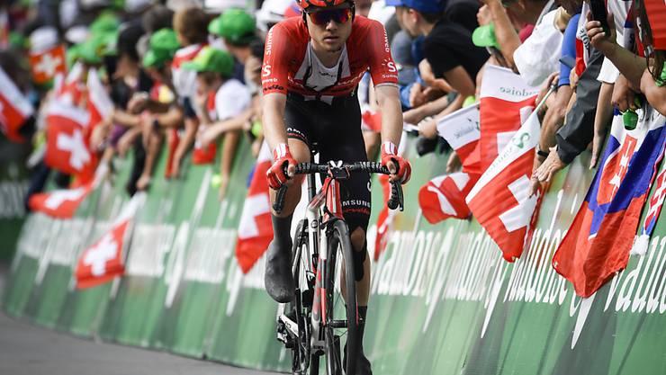Marc Hirschi - im Bild während der Tour de Suisse im Juni - fuhr beim Klassiker in San Sebastian als Dritter auf das Podest