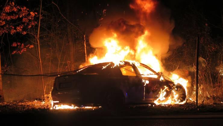 Das Fahrzeug geriet nach dem Unfall in Brand.
