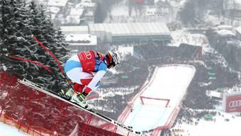 Beat Feuz und der Sprung über die Hausbergkante: Er war in den vergangenen vier Jahren in Kitzbühel an dieser Stelle immer einer der Schnellsten.