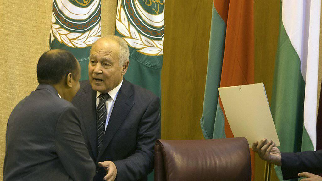 Der Generalsekretär der Arabischen Liga, Ahmed Abul Gheit, beim Treffen des Staatenbündnisses in Kairo.