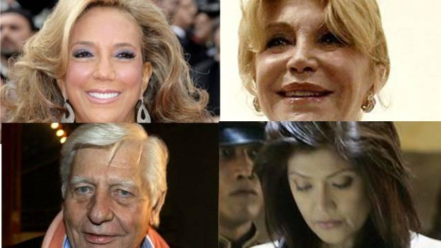 Unter Verdacht: Sängern Denise Richt, Kunstsammlerin, Carmen Thyssen-Bornemisza, Playboy Gunter Sachs und Marcos-Tochter Imee (im Uhrzeigersinn).