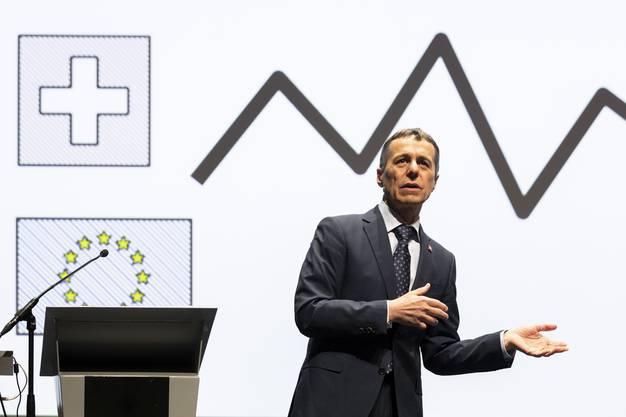 Bundesrat Ignazio Cassis hält eine Rede zum Thema Direkte Demokratie und Europapolitik, an den Aarauer DemokratietageN, am 28. März 2019 im Kultur & Kongresshaus Aarau.