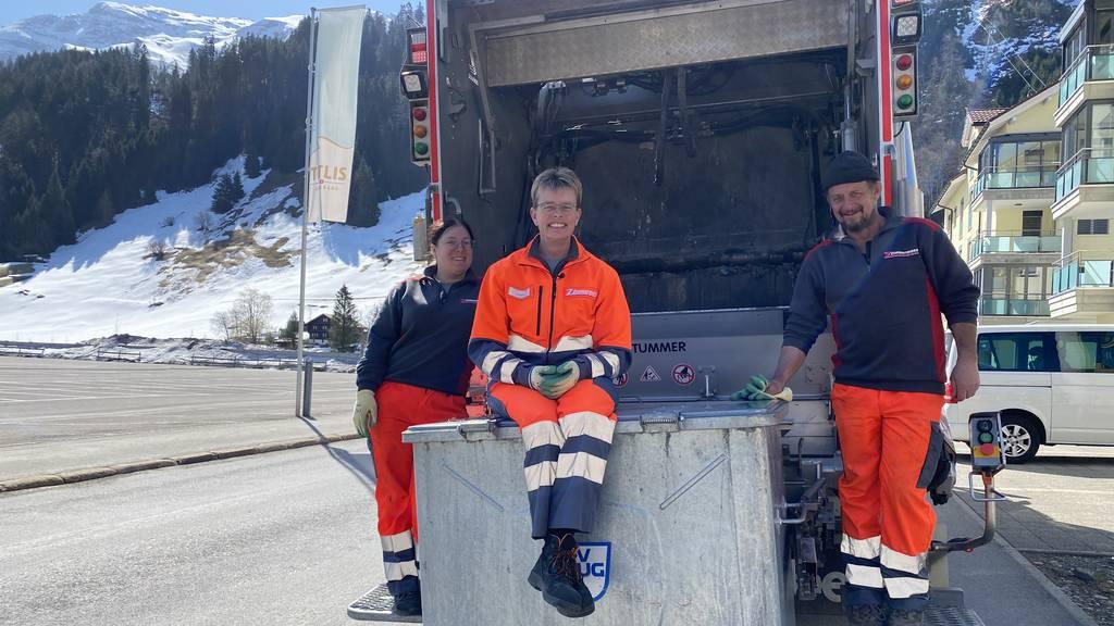 Schnee und «Mädli» fordern Karin Leu auf Kehricht-Tour heraus