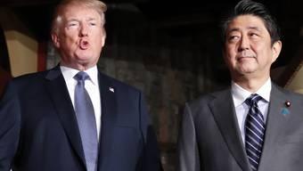 US-Präsident Donald Trump (links) kritisierte Japan im Beisein seines Premiers Shinzo Abe wegen der japanischen Handelspraktiken.