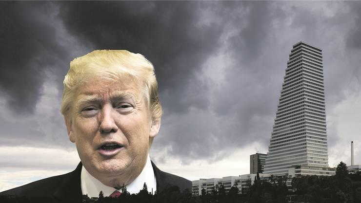 Donald Trump als Bedrohung für die Pharmabranche? Mehr und mehr Unternehmen wehren sich (rechts der Roche-Turm in Basel).Montage: Marco Tancredi