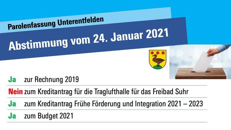 Abstimmungsempfehlung der FDP Unterentfelden