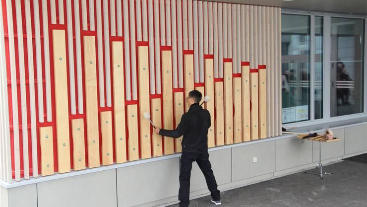 Aus den Bäumen, die dem Neubau wichen: Perkussionist Pit Gutmann weiht das Kunstwerk «Singvogel & Carpiniphon» ein.
