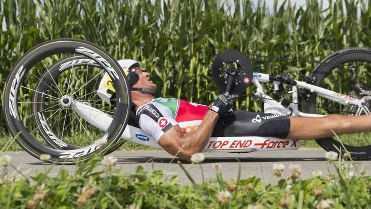 Titelverteidiger Heinz Frei gewinnt Silber im Zeitfahren.