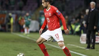 Ricardo Rodriguez im Trikot der Schweizer Nationalmannschaft anlässlich der EM-Qualifikationspartie gegen Irland