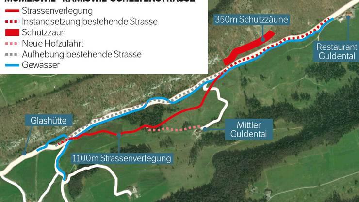So präsentierte sich der Plan für die Sanierungs- und Strassenverlegungsarbeiten auf der Scheltenstrasse. Die Sanierung beginnt ab Restaurant Guldental.