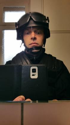 Rolf Maurer als Soldat der Sondereinheit für den Film «Der lautlose Schrei» von Gabriel da Silva.