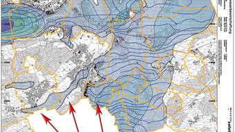 Grundwasserkarte mit der Bewegungsrichtung der Freonwolke (in rot).
