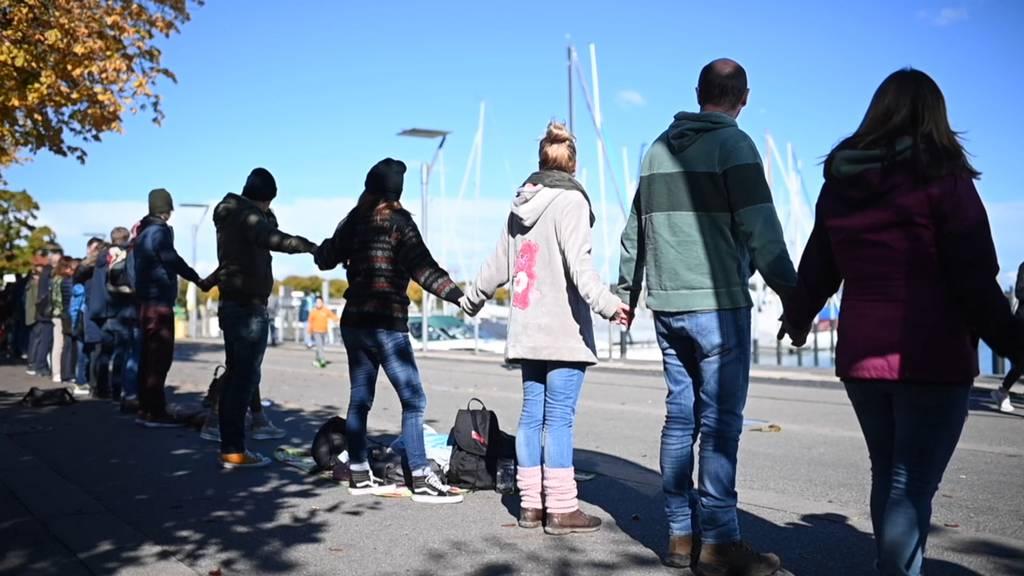 Demonstranten für und gegen Corona-Politik versammeln sich am Bodensee