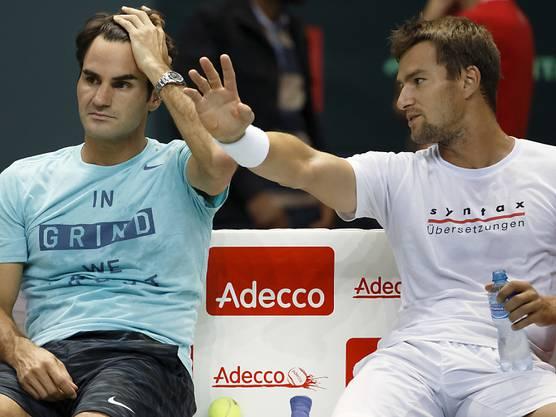 Marco Chiudinelli (rechts) und Roger Federer sind Jugendfreunde.
