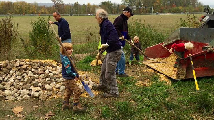 Gross und Klein arbeiten an einer Reptilienburg bei den Judenweihern