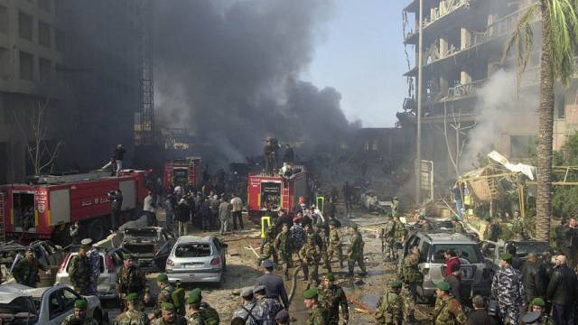 Der Anschlagsort vor dem Hotel St. Georges in Beirut 2005