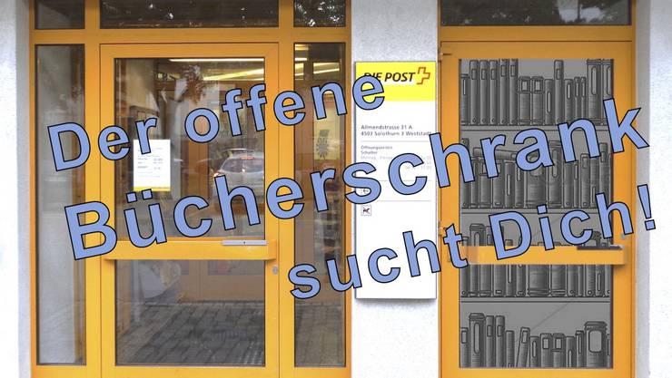 Ein Offener Bücherschrank bei der Post Allmend, Solothurn West
