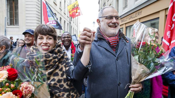 Kanton Genf: Unübersehbar - die Freude ist gross bei Lisa Mazzone und Carlo Sommaruga.