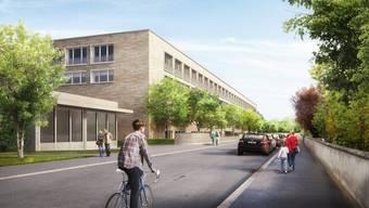 In wenigen Tagen beginnen die Arbeiten am Rohbau des neuen Hirzbrunnenhauses. In Betrieb gehen soll es Ende 2019. (Visualisierung)