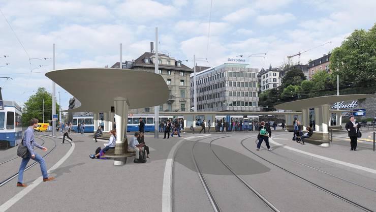Visualisierung der Tramhaltestelle Central