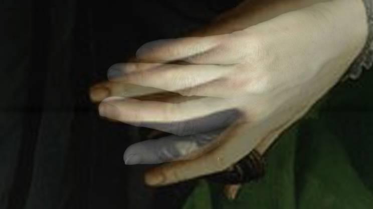 Sara Burger vereint in ihren digitalen Collagen Hände aus der Kunstgeschichte mit ihren eigenen.
