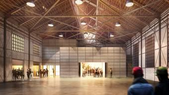 Das Projekt des Jugendkulturlokals in der Alten Schmiede: links die Jugendbeiz, rechts der Veranstaltungsraum. Ladner Meier Architekten