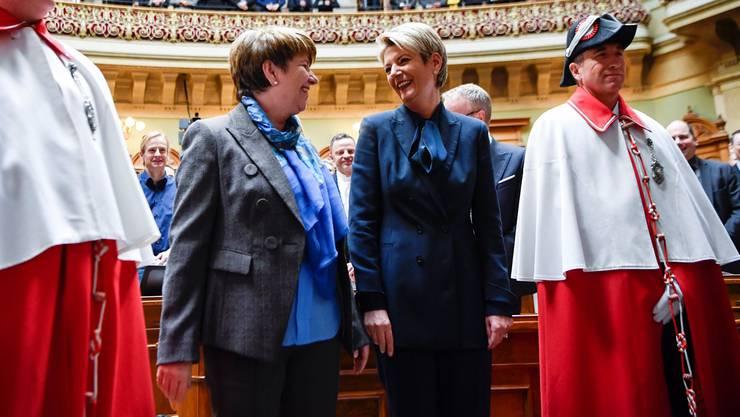 Viola Amherd (CVP) und Karin Keller-Sutter (FDP, r.) treten nicht am Frauenstreik auf. Sie planen allerdings Anlässe mit bürgerlichen Frauen.