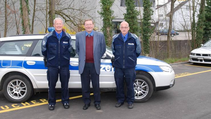 Markus Erni (stv. Chef der Repol), Tony Mösch, Präsident Führungsausschuss, Repol-Chef Rolf Graf (v. l.).  sh