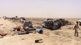 Beim Beschuss eines Konvois sollen im Irak mindestens 250 IS-Kämpfer das Leben verloren haben.