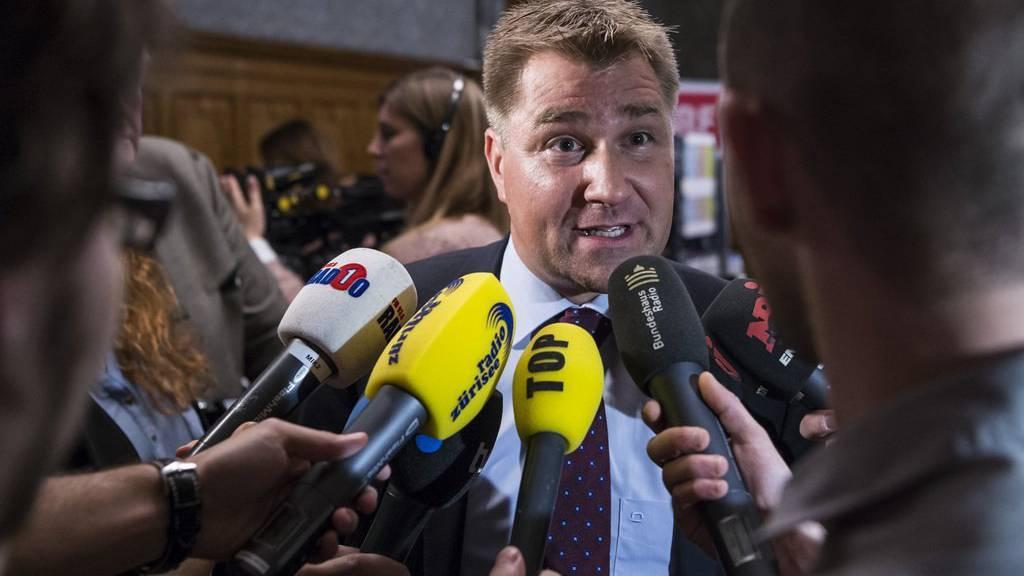 SVP-Präsident Toni Brunner am Wahlsonntag. (KEYSTONE/Alessandro della Valle)