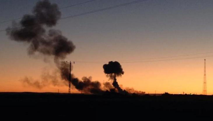 Das Bild zeigt die Explosionen in Kobane von letzter Nacht.