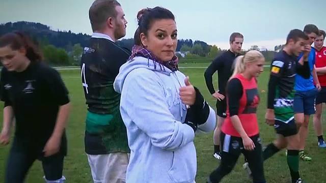 Nadja von den FM1 Wachmacher war im Training vom Rugbyclub St.Gallen.