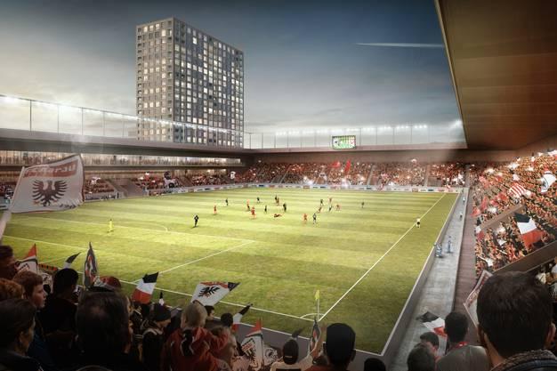 Blick ins neue Aarauer Stadion, aussen die Hochhäuser. (Visualisierung)