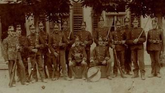 Birmenstorfer Wehrmänner 1914. Ein bisher unveröffentlichtes Foto.
