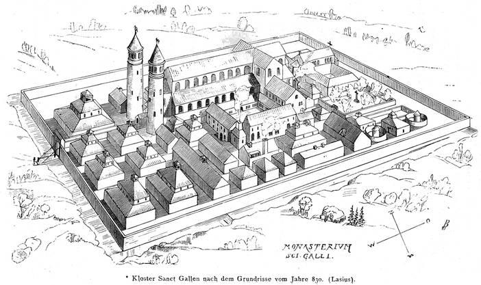 Rekonstruktion nach dem Klosterplan von Johann Rudolf Rahn, 1876.