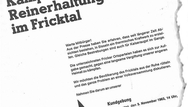 Ausriss eines Flugblatts von 1963: Gegen die Pläne, in Kaiseraugst und Sisseln ölthermische Kraftwerke zu bauen, regte sich im Fricktal heftiger Widerstand.