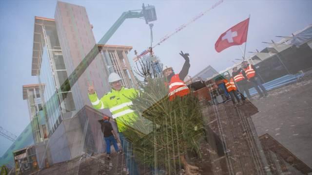 Der Schweizer Pavillon an der Expo 2015 nimmt Gestalt an