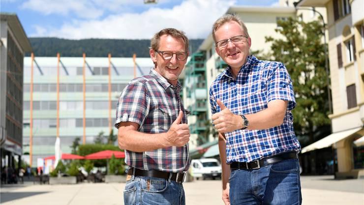 Heinz Westreicher, Präsident des Gewerbeverbands, und Theo Heiri-Schatt, Präsident des Organisationskomitees für das Grenchner Fest «Back to the Fifties».