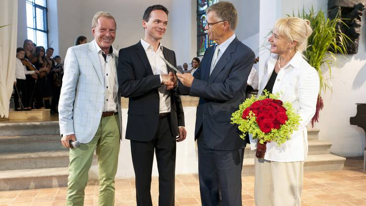 Kurt Aeschbacher, Preisträger Andreas Fleck, Peter Wanner und Sabine Altorfer (von links)