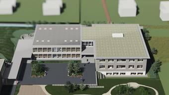 Mit einem Erweiterungsbau (rechts) soll ein logisch verknüpfter Gesamtschulkomplex in Oberbuchsiten entstehen.