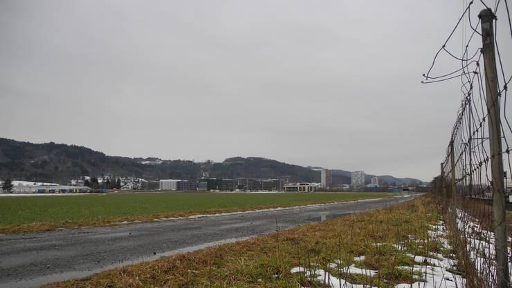 Auf Acker Wiese Feld Gebiet Standort Müsli ist das Depot für die Limmattalbahn geplant. Das Feld gehört zu Dietikon und grenzt an Spreitenbach. Bahndepot Tramdepot