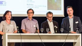 Vier bisherige Stadträte treten zur Wiederwahl an (v. l.): Andrea Metzler (SP), Leo Geissmann (CVP), Willi Däpp (SP) und Reto Wettstein (FDP). Sandra Ardizzone