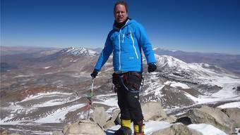 Thierry Dewambrechies auf dem Gipfel des Ojos del Salado.