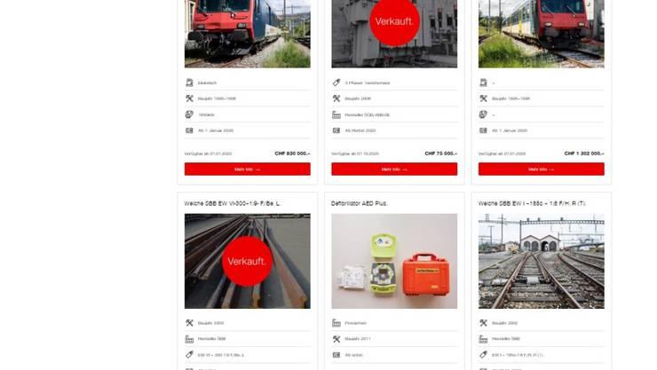 Die SBB bieten im Internet neuerdings alte Züge, Weichen und sonstiges Bahnzubehör zum Verkauf an.