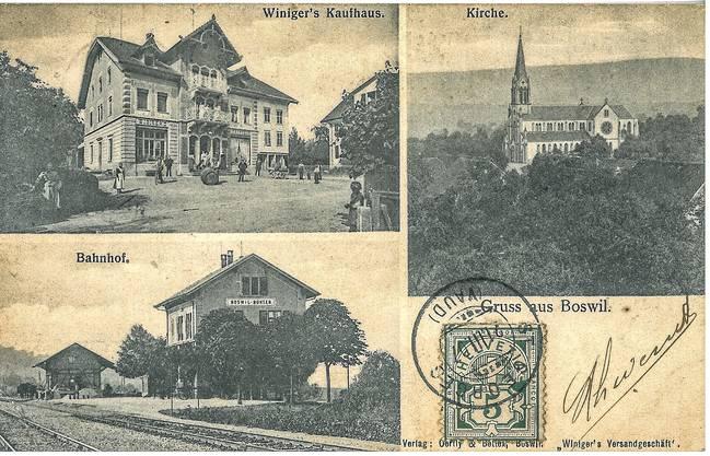 Im März 1907 wurde diese Postkarte aus Boswil an eine Adresse in Frankreich geschickt. Der Poststempel auf der Karte ist allerdings nicht Boswil, sondern St. Georges im Waadtland.