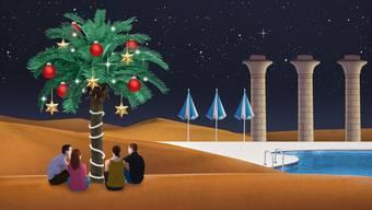 In der touristischen Welt von Sharm-el-Sheikh treffen die zwei befreundeten Paare auf westliche Weihnachtsstimmung. Illustration: Philip Bürli
