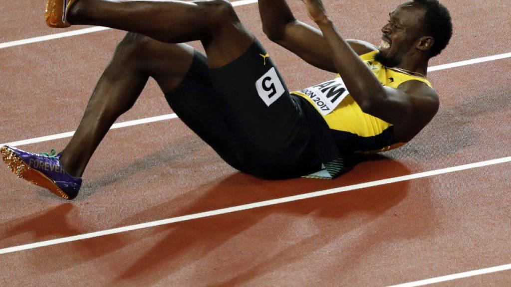 Usain Bolt am Boden - keine Schauspielerei, wie einige behaupteten